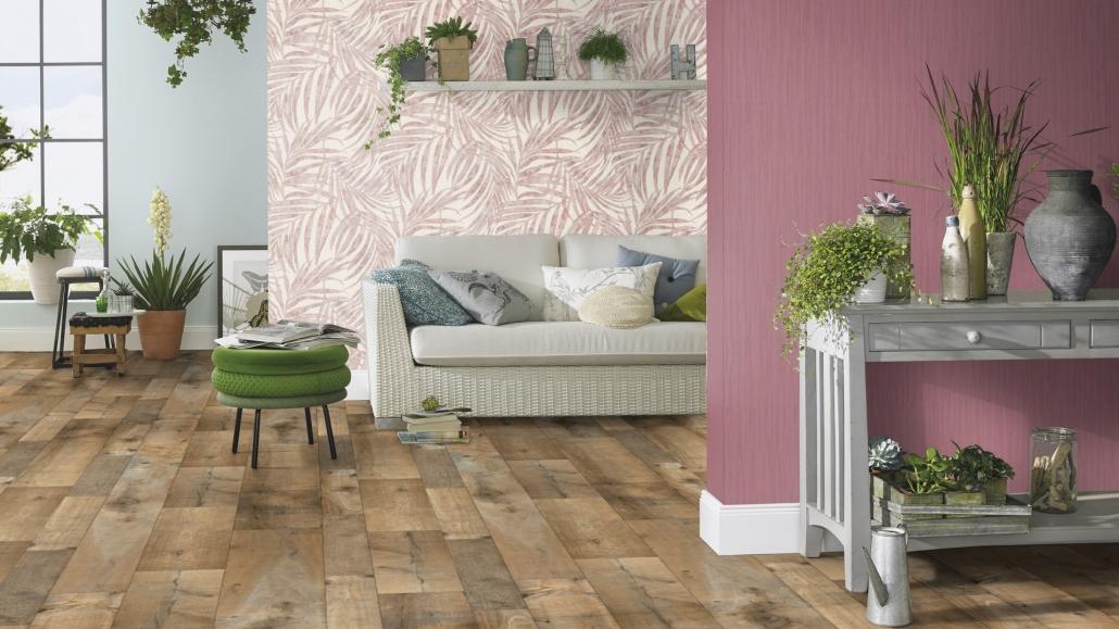 Urlaubsfeeling zu Hause mit Wandgestaltung in Pink - Quelle Schlau Großhandels GmbH & Co KG